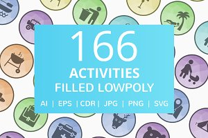166 Activities Filled Low Poly Icons