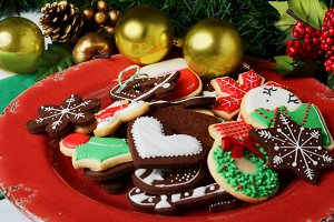 Christmas cookies with festive decor