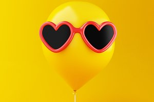 3d Yellow balloon with sunglasses. M