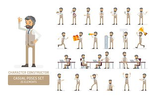 Hipster man character poses set