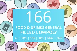 166 Food & Drinks Low Poly Icons