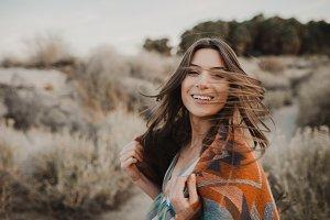 Boho girl with windy hair.