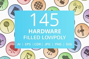145 Hardware Filled Low Poly Icons