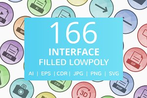 166 Interface Filled Low Poly Icons