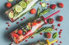 Detox fruits water in bottles