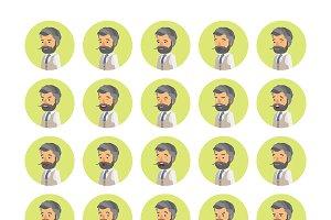 Hipster man emoticons set