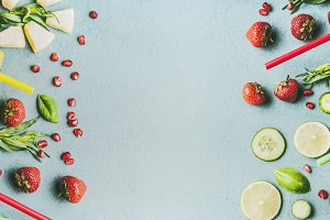 Detox fruits water template