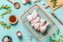 Chicken drumsticks with marinate