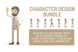 Hipster man design bundle