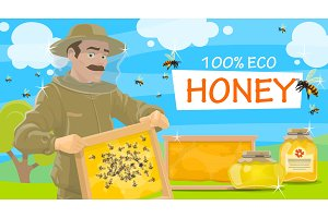 Beekeeper near honeycomb