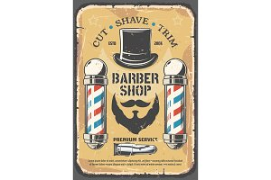 Cut shave, barber shop salon