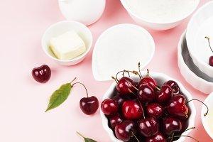 Ingredients for cherry pie - milk, b