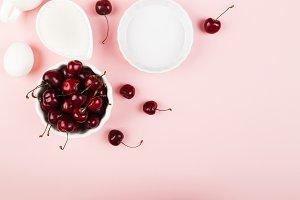 Ingredients for cherry pie - milk, e