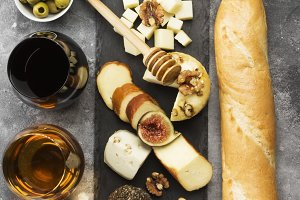 Snacks with wine - various types of