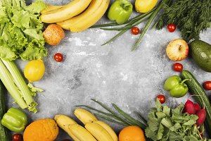 Various healthy food on gray backgro