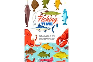 Fishing time with sea animals