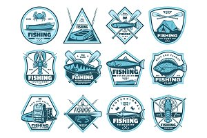 Fishing camp, tournament icons