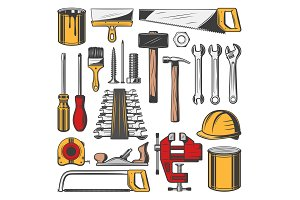 Repair tools, carpentry icons