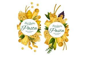 Pasta and spaghetti round poster