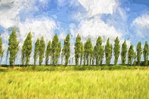 Row of trees in the wind
