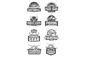 Fishing tournament and fishery icons