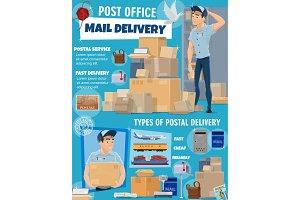 Mail service, postman, parcels