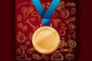 Gold medal with doodle sport icon
