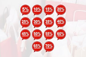 Sale Discount Red Price Tag Icon Set