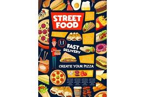 Street and fast food snacks menu