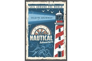 Beacon lighthouse nautical poster