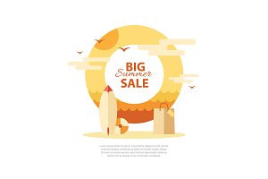 Summer sale vector template