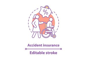 Accident insurance concept icon