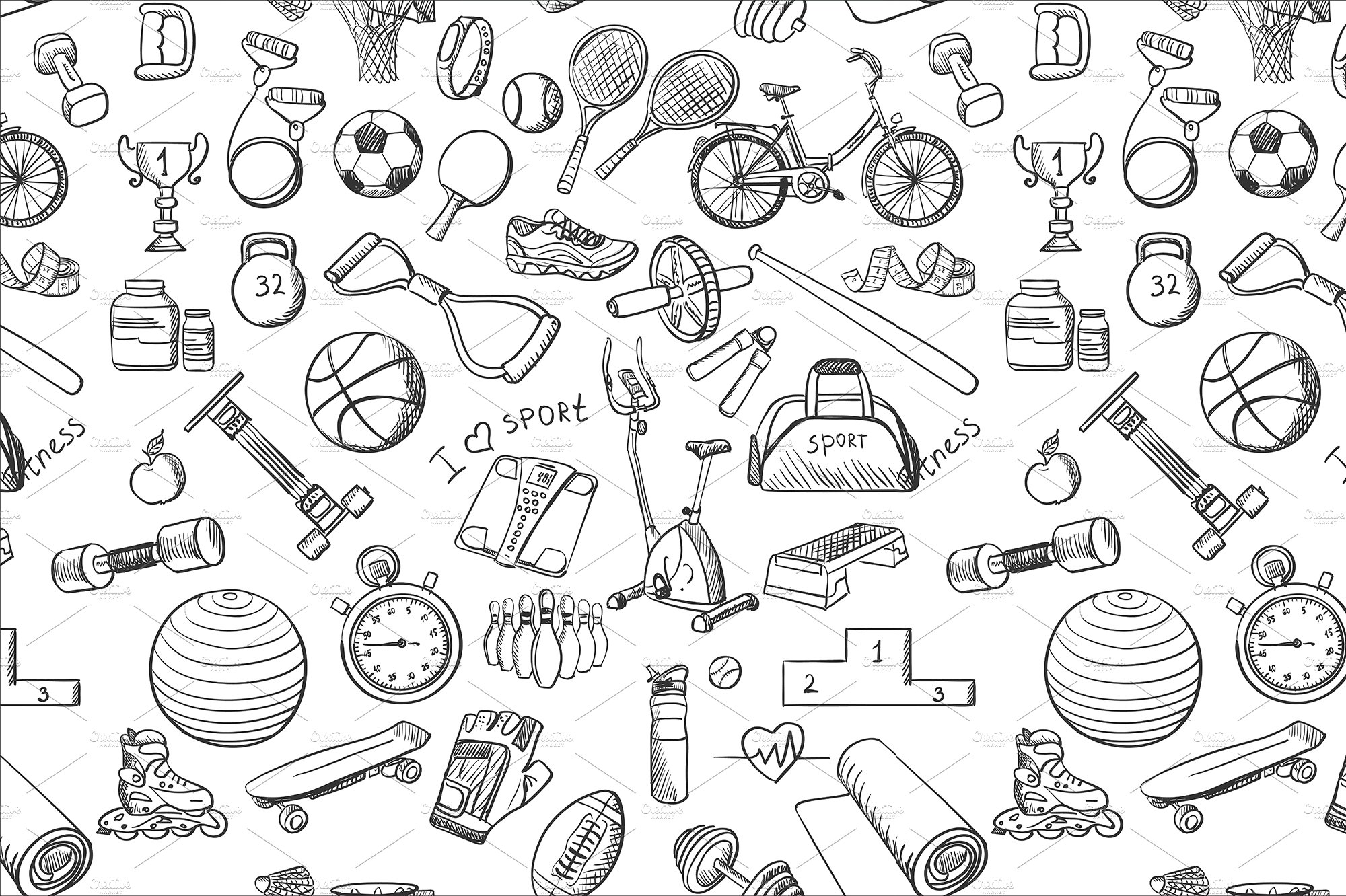 Sport Wallpaper Pattern: Hand Drawn Fitness Sport Doodle Patt