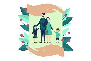 Family insurance metaphor vector