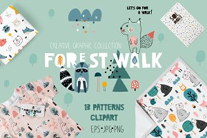 FOREST WALK creative graphic set
