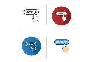 Donate button click icon