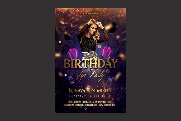 birthday party flyer flyer templates creative market