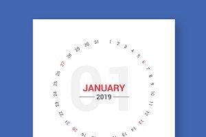 Calendar 2019 Round Style