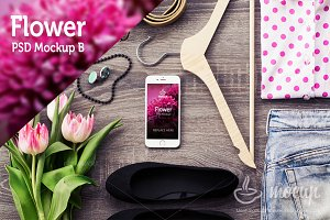 "iPhone 6 PSD Mockup Flower ""B"""