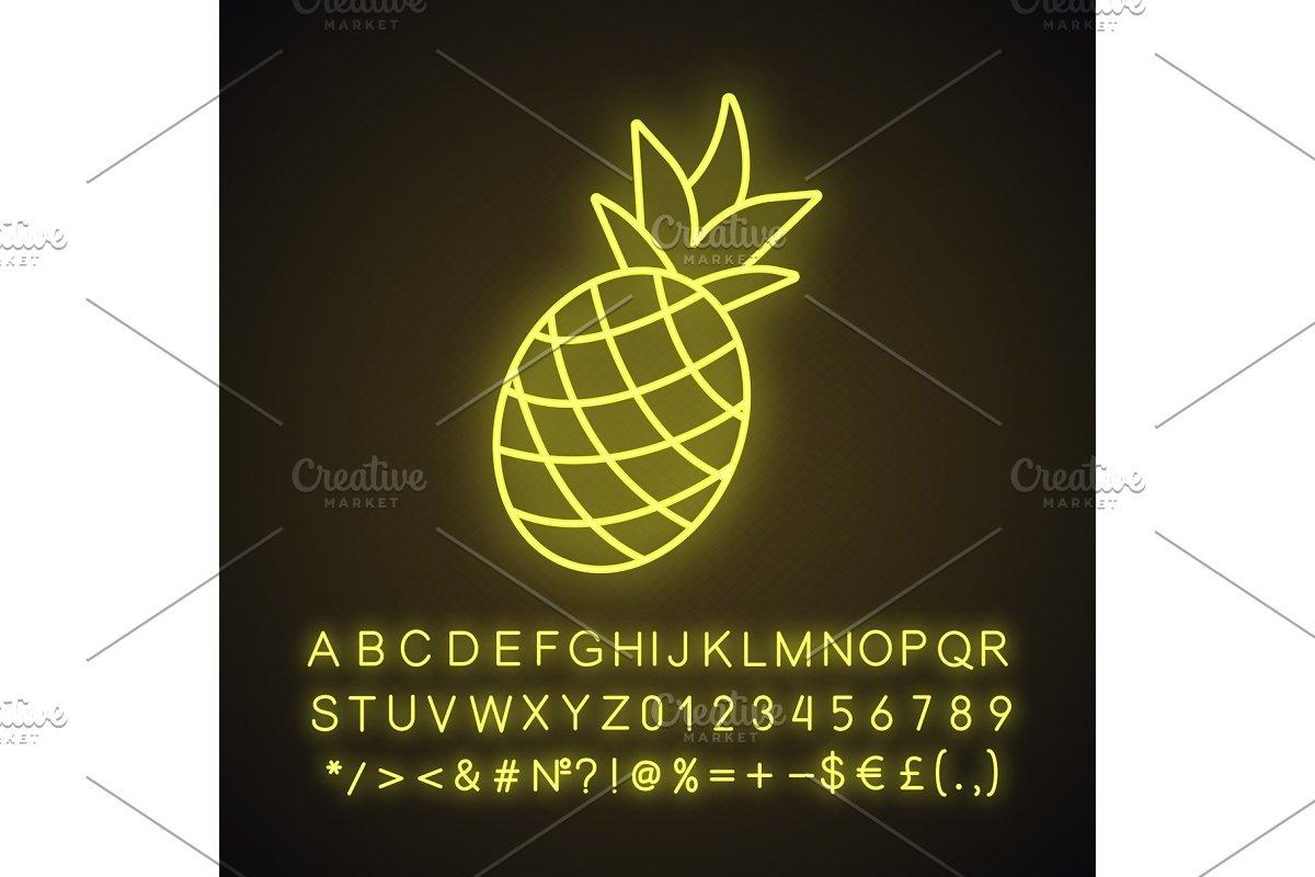 Pineapple neon light icon