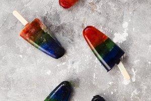 Rainbow colorful ice cream popsicle