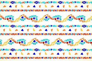 Color mosaic border seamless pattern