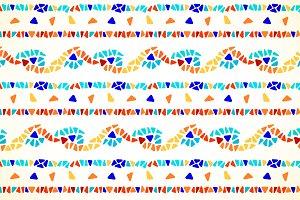 Color mosaic border seamless pattern