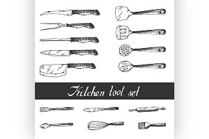 Hand drawn Kitchen Utensils Set