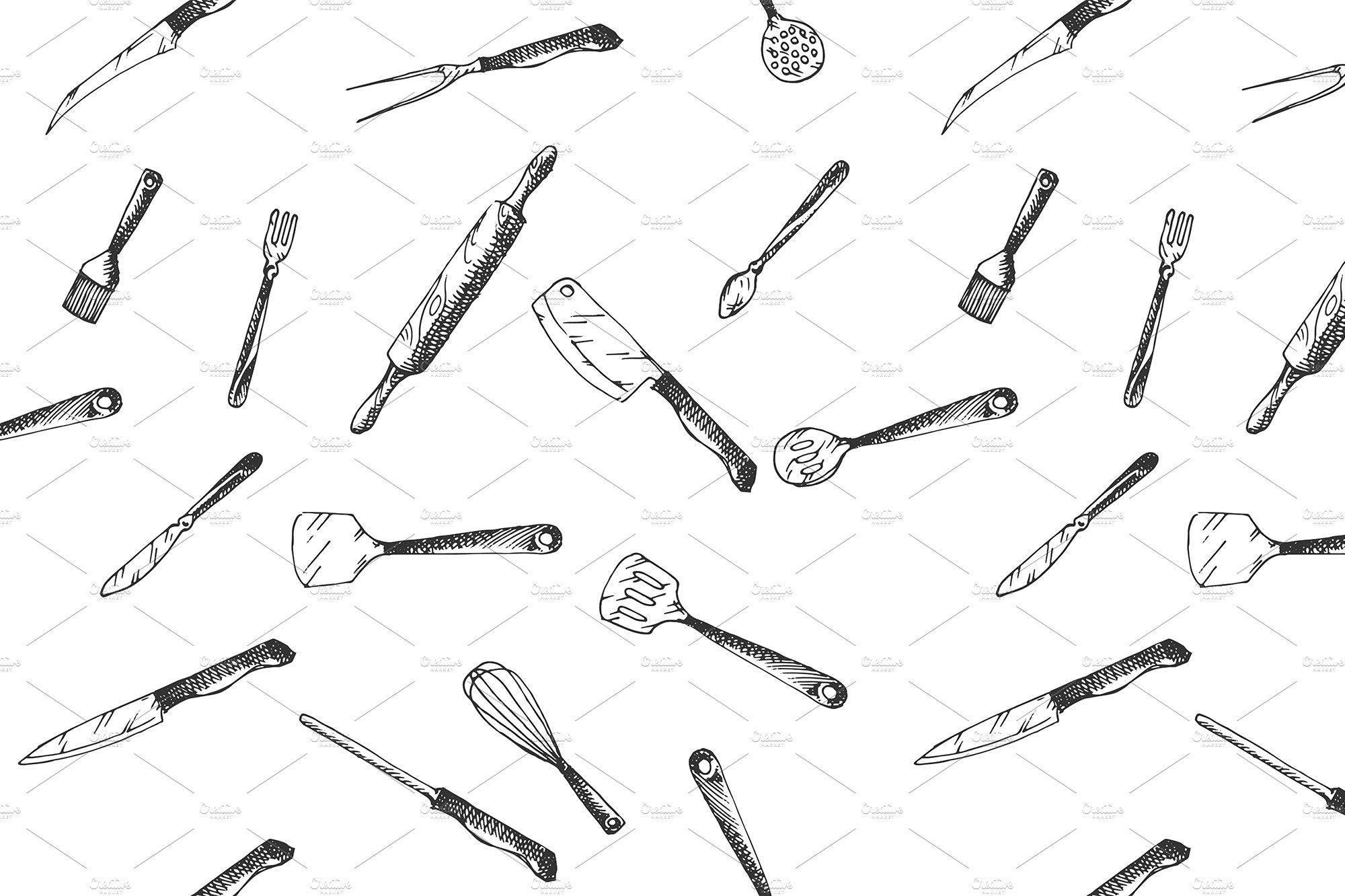 Hand drawn Kitchen Utensils pattern ~ Graphic Patterns ~ Creative Market