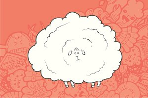 Hand Drawn Sheep. Greeting card