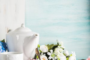 Breakfast table setting with white c