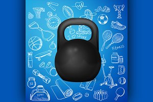 kettlebell and hand draw sport icon