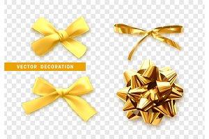 Bows color golden realistic design.