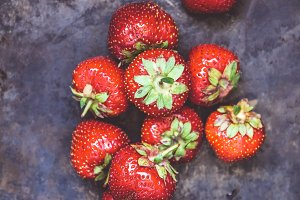 A bunch of fresh juicy strawberries